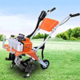 DJLOOKK Motocultivador de cultivador de Gasolina, motocultor de 68 CC, Ancho de labranza de 40 cm y Profundidad de labranza de 15 cm a 30 cm, Motor de 2 Tiempos, motoazadas
