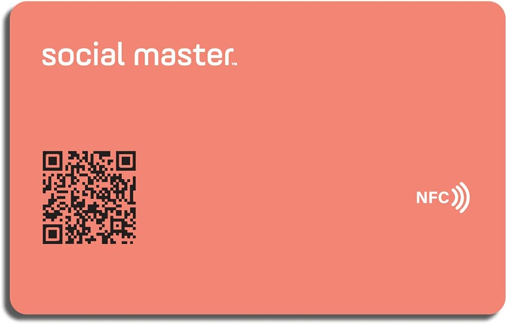 Social Master Digital Business Card Plastic Wallet Sized NFC Tag for Instant Contact and Social Media Sharing iOS and Android Compatible (Coral)