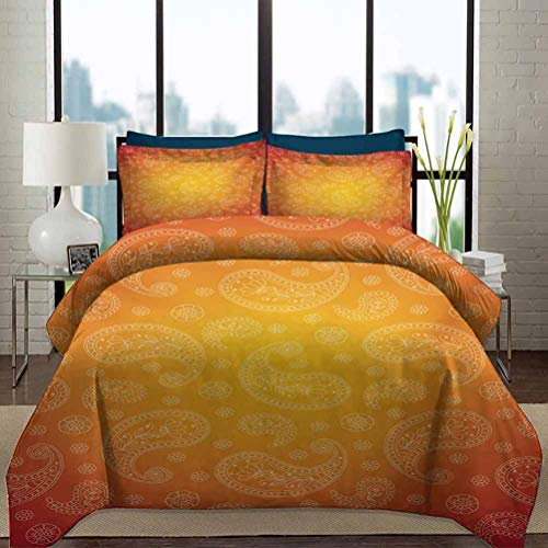 vsunburst Orange Duvet Cover Set King Size Ombre Colored and Themed Image with Blank Frame and Floral Patterns Decorative 3 Piece Bedding Set with 2 Pillow Shams Gift for Teens Kids Orange and White