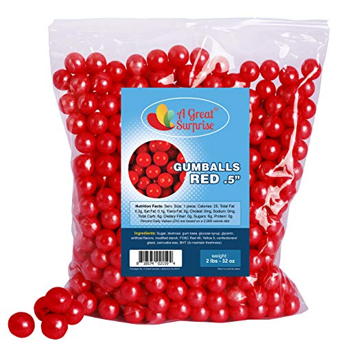Gumballs in Bulk - Red Gumballs for Candy Buffet - Mini Gumballs 1/2 Inch, Bulk Candy 2 LB