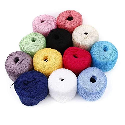 SAMZO Mercerized Cotton Soft Cord Thread Yarn Balls Natural Embroidery Crochet Lace 12pcs