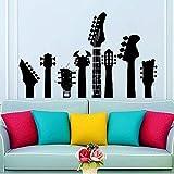 Vitras de pared Varios cuellos de guitarra Etiqueta de la pared Pegatina de vinilo Adolescente Niños Decoración de la habitación Vinilo Guitarra Fotomural 57 * 35 cm