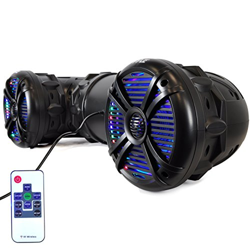 Pyle 8'- Outdoor Bluetooth ATV , UTV Speaker| Weatherproof & Water Proof Housing with Multi-Color LED Lights For ATV, UTV, 4x4, Golf Carts, Jetski, Snowmobile & More (PLATV85BT)