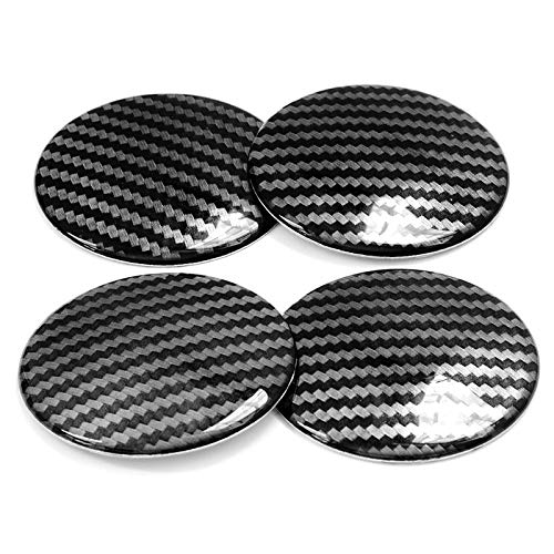 Tapas centrales para llantas 4 unids 65 mm Fibra de carbono 3D Vinilo + aluminio de aluminio Centro de ruedas del centro de la película Pegatina de película Calcomanía de automóviles Accesorios de aut
