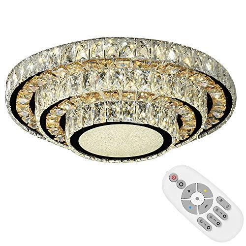 Lámparas de techo de Cristal Plafon LED Redondo plafón LED Dimmable Lámpara de araña de Cristal para la sala de estar, dormitorio, Lampara techo Cristal (60cm)
