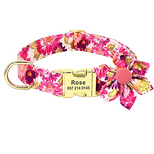 Beirui Personalized Female Dog Collars for Girl Dogs - Custom Pet Dog Collar with Flower for Small Medium Large Dogs - Soft Floral Engraved Collar (Hot Pink, S)