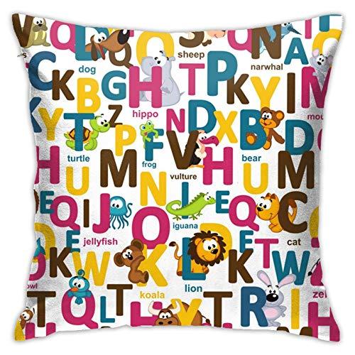 Funda de almohada cuadrada con diseño de animales y letras, para dormitorio, oficina, 45,7 x 45,7 cm