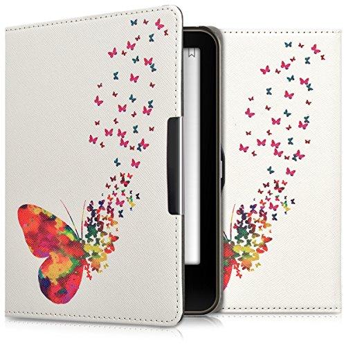 kwmobile Hülle kompatibel mit Tolino Vision 1/2 / 3/4 HD - Kunstleder eReader Schutzhülle - Schmetterling Schwarm Mehrfarbig Pink Weiß