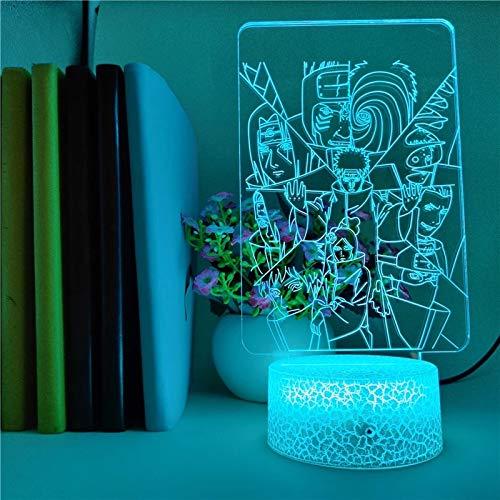 Luminous Naruto series anime crack base lámpara de mesa pequeña creativa acrílico multicolor luz de noche pequeña decoración creativa lámpara de mesa pequeña luz LED luz visual 3D