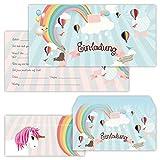 PAPERHELDEN 12 Einhorn Einladungskarten mit 12 Umschlägen zum Kindergeburtstag   Unicorn Geburtstags-Einladungen zur Mädchen Party für Kinder