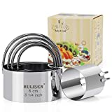 HULISEN Biscuit Cutter Set (5 Pieces/Set), Round Cookies Cutter with Handle, Professional Baking...