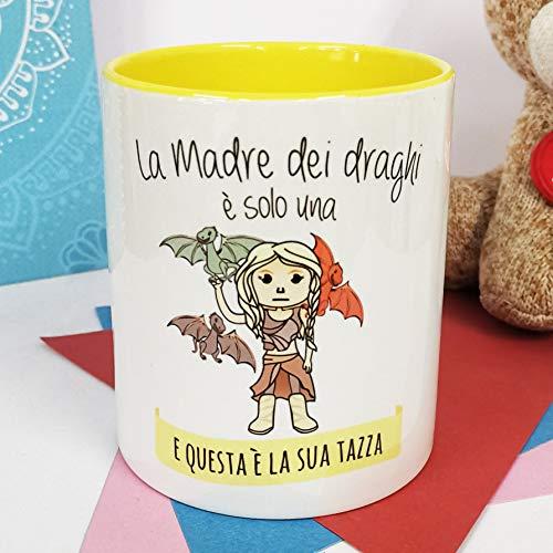 La Mente è Meravigliosa - Taza con Frase y Dibujo Divertido - Regalo Original (Diseño Madre Dragones) (Italiano)