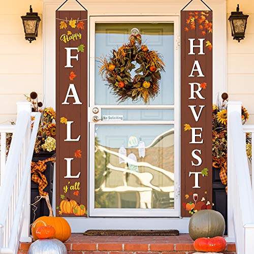 2 Pieces Thanksgiving Porch Banners Fall Harvest Hanging Porch Banner Happy Fall Yall Thanksgiving Harvest Porch Sign for Thanksgiving Autumn Yard Door Decoration