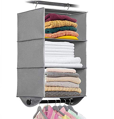 """Hanging Closet Organizer with Garment Rod - 3 Section Heavy Duty Fabric Space Saver for Closets Easy to Mount Foldable Closet Storage Shelves Grey with Black Metal Rod 12""""W x 12""""D x 295""""H"""
