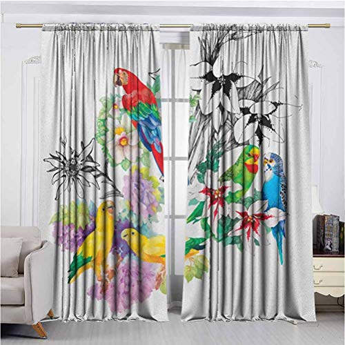 Parrot Shadow Filter adds Privacy to Stylish 2 Panel Curtains Parrots Observing The World on Top of Floral Foliage Garden Jungle Tropic Bird Print Curtains Prevent high temperatures in Summer and col