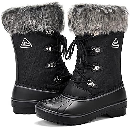 ALEADER Waterproof Snow Boots for Women, Warm Faux Fur Winter Boots Shoes Black 8 B(M) US