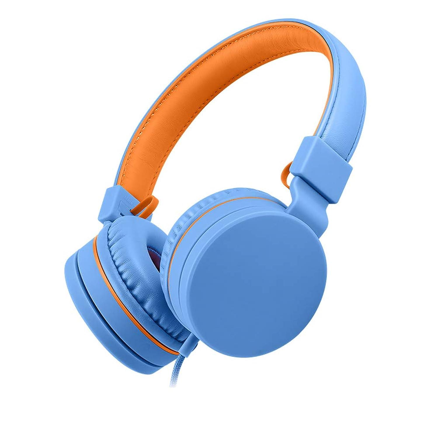 生産的アストロラーベ傑出した子供のヘッドフォンは、マイクのヘッドフォンで男の子と女の子を学習ワイヤーかわいい耳元のネットワークは、携帯電話のノートパソコンの一般的な専門家を聞く (Color : Orange Blue)