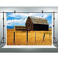 GooEoo 7x5ft 秋の牧草地の背景干し草の山小屋の写真の背景のテーマ誕生日パーティーの壁紙写真ブースの小道具家族のパーティーの誕生日の背景ベビーシャワーの装飾ビニール素材