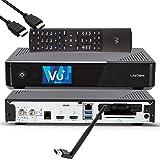 VU + UNO 4K SE - UHD HDR 1x DVB-S2 FBC Sat Twin Tuner E2 Linux Receiver YouTube, Satellite, CI + lector de tarjetas, reproductor multimedia, USB 3.0, cable HDMI EasyMouse y memoria WiFi de 150 Mbit