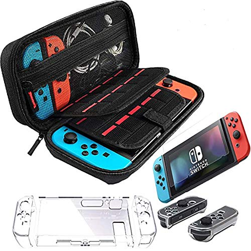 EVA Portable Travel Carrying Case Accessories for Nintendo Switch Including with Transparent Switch Cover, Tempered Glass Screen Protector, 20 Game Card Slots, and Joy-Con. BLACK