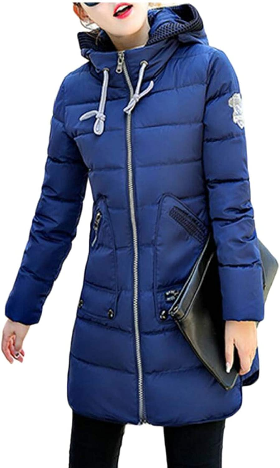 Gocgt Women's Hooded Ultra Light Weight Down Coat Mid Long Puffer Jacket