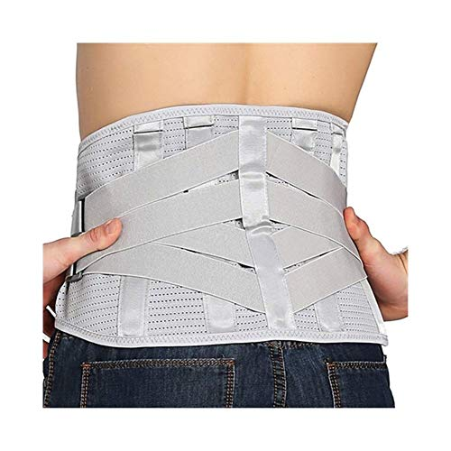 ZWQASP Posture Corrector, Lumbar Support Belt Wide Protection Waist Support Orthopedic Spine Back Posture Corrector Health Care Corest for Waist Pain (Color : Gray, Size : L)