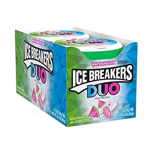 ICE BREAKERS DUO Watermelon Flavored Sugar Free Breath Mints, Bulk Mint Candy, 1.3 oz Container (8 ct)