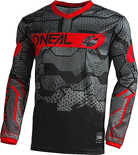 O'NEAL | Motocross-Shirt langarm | Kinder | MX MTB Mountainbike | Leichtes Material, ergonomischer Slim Fit Schnitt für perfekte Passform | Element Youth Jersey Camo V.22 | Schwarz Rot | XL