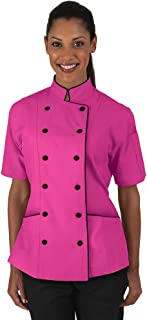 Women's Chef Coat with Piping (XS-3X, 5 Colors)