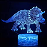 Dinosaurio animal de moda base agrietada luz led 3d panel acrílico creativo lámpara de mesa pequeña multicolor luz ambiental luz visual luz nocturna LED luz decorativa preferida