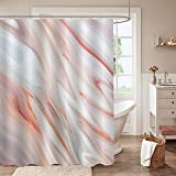 MitoVilla Abstract Peach Marble Textured Shower Curtain Set with Hooks for Coral Bathrooom Art Decor, Burnt Orange Liquid Waves Pattern Bathroom Curtain for Modern Home Decor, Grey, 72' W x 72' L