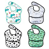 Baby Waterproof Adjustable Smock Bib for Feeding with Crumb Catcher Pocket, Sleeveless Plastic Eating Weaning Bib Set for Infants and Toddlers (4 Packs, 6-36 Months)