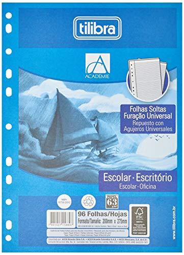 Refil Tiliflex para Caderno Argolado Universitário Furação Universal, Tilibra, Académie, 158895, 20x27.5cm, Branca, 96 Folhas