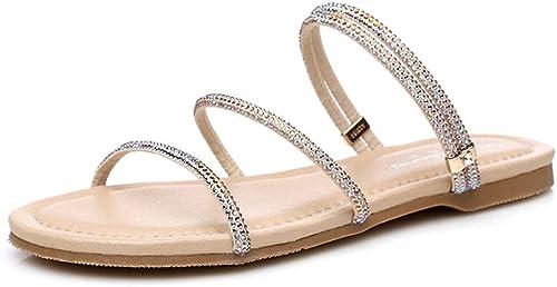 Sandales Femme Femme Femme été Plat Deux Porter des Sandales Strass Plat avec Un Mot Chaussures Plage Petites Chaussures pour Femmes élégantes Et des Chaussures (Couleur   Or, Taille   33) 541