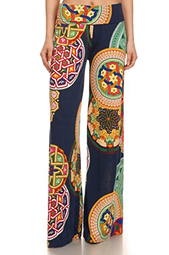 ICONOFLASH Women's Wide Leg Palazzo Pants with Fold-Over Waist (Celtic, Medium)