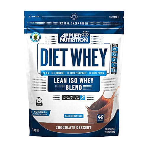 Applied Nutrition Diet Whey Protein Powder, High Protein, Low Carb, Low Sugar, Weight Loss with CLA, L Carnitine, Green Tea, High PhD Supplement 1kg - 40 Servings (Chocolate Dessert)