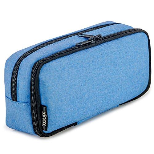 Simple Large Pencil Pouch Big Cosmetic Pouch Bag Pen Bag,Stationery Pouch,Multi-Colored Pencil case,Large Capacity Zipper Pencil Bag (Wathet Blue)