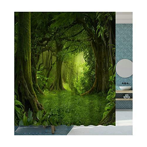 Rubyia Duschvorhang 90x180, Wald 3D Motiv Bad Duschvorhang mit Duschvorhangringen, Polyester, Grün