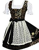 Edelweiss Creek 3-Piece German Oktoberfest Dirndl Dress Short Black and Gold (8)