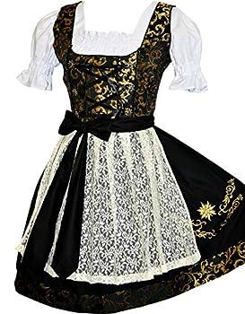Edelweiss Creek 3-Piece German Oktoberfest Dirndl Dress Short Black and Gold  6