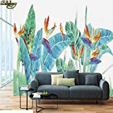 Sijoo Foto, Carta da Parati murale, Dipinti a Mano Foglie di banano Fiori e Uccelli TV Sfondo Muro Pittura Carta da Parati Pittura a Olio