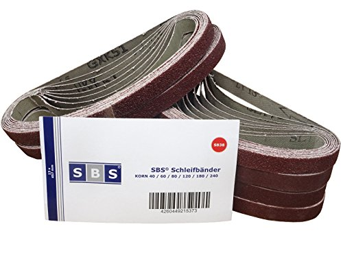 Lot de 48 bandes abrasives SBS - 13 x 457 mm - Assortiment de 8 pièces par granulation : 40/60/80/120/180/240