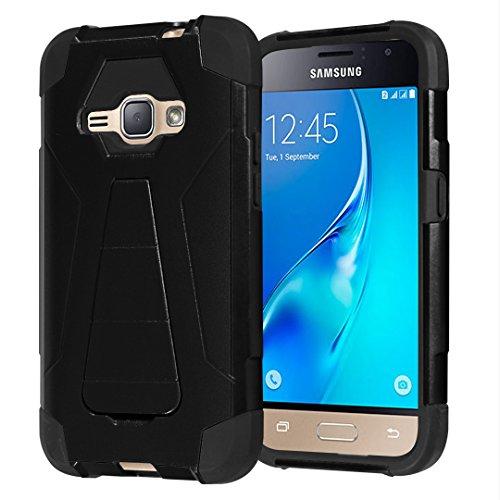 Galaxy Express 3 / Galaxy Amp 2 / Galaxy Luna/Galaxy J1 J120 Case, Capsule-Case Shockproof Kickstand Case (Black) for Samsung Galaxy Express3 / Amp2 / Luna / J1 J120