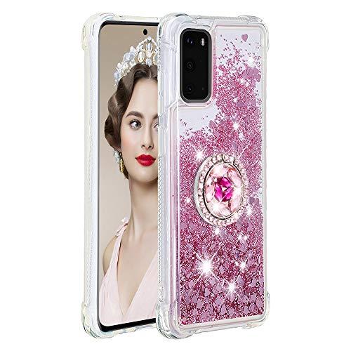 Coque pour Samsung Galaxy S20,Brillante Cristal Diamant Anneau Socle de téléphone Liquide Dégradé Transparente Silicone TPU Étui Antichoc Coques(Or Rose)