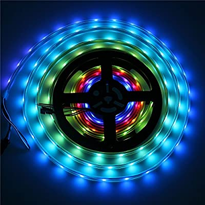 Alarmpore (TM) 16.4FT Black PCB 5M 12V DC RGB LED Strip WS2811 Dream Color 5050 150 300 LED Light Tube Waterproof