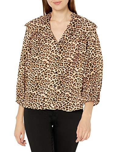 Jessica Simpson Women's Plus Size Rumer Ruffled Button Up Front Blouse, Tannin Safari, 1X