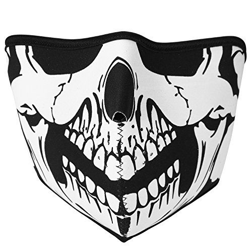 TSWRK Skull Half Face Wind Dust Proof Mask with Magic Tape Velcro Strap Halloween Costume Mask