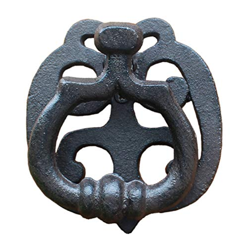 Lqdp Llamador de Puerta Aldaba Manija de Aldabas de Puerta Pequeña - Aldaba de Hierro Fundido para Decoración de Puerta de Entrada de Casa de Campo Moderna, Acabado Negro Vintage