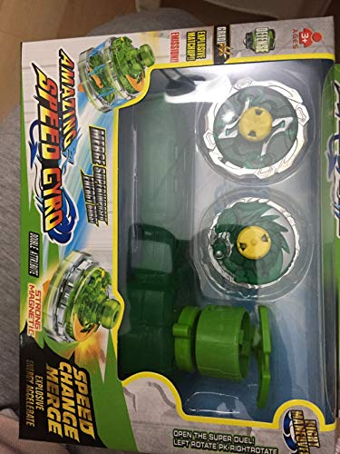 ML Peonzas con Launcher, Lanzador magnetico Giratorio nado Gyro Burst Top Starter con Spinning Top Conjunto, Nuevo Spinner con Turbo Burst Lanzador, Niños Peonzas Juguetes (Verde)