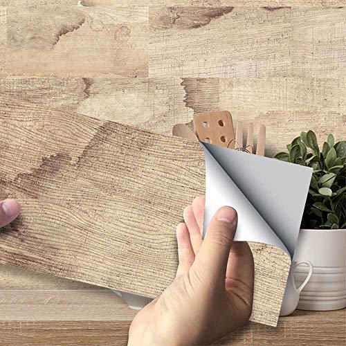 Hiser Adhésive Décorative à Carreaux pour Salle de Bains et Cuisine Stickers Carrelage, Style de Carreaux de Mur 3D Imperméables Auto-adhésifs Décoration (Grain de Bois,54 Pièces)